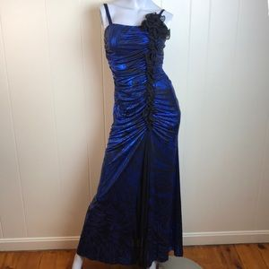 Cindy Metallic Blue Black Body Con Prom Dress